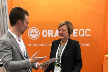 Matt Gornick, founder of OrangeQC, talks with Judy Gillies, president of The Surge Group