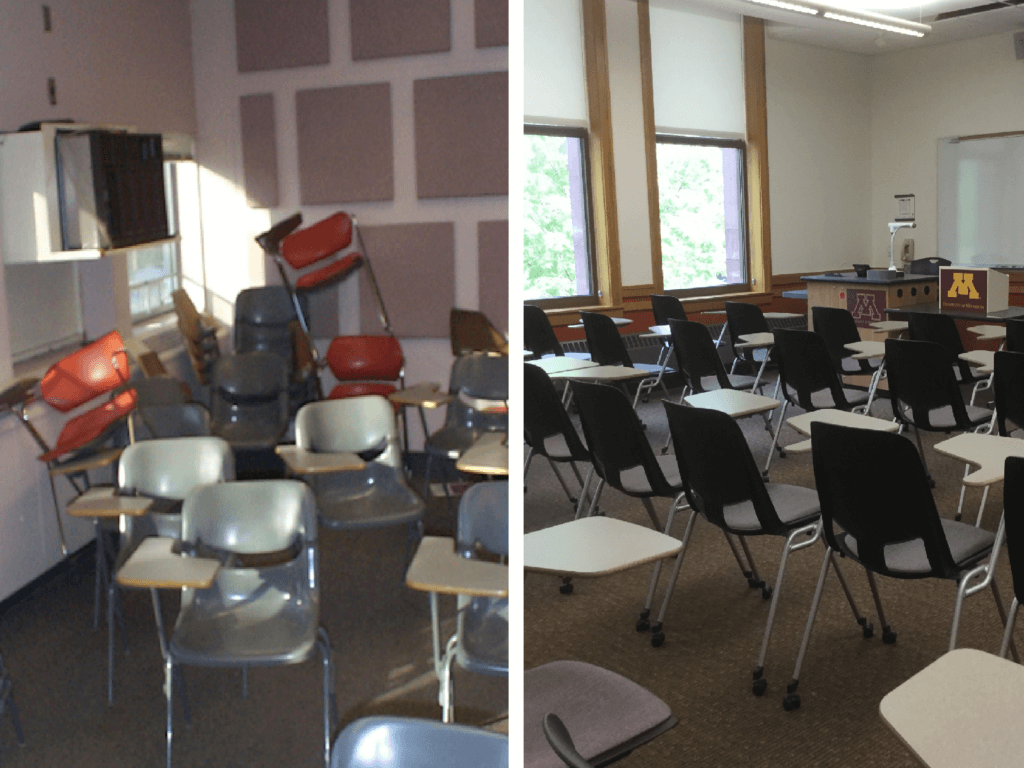 On the left, a disorganized classroom with chairs piled on top of desks haphazardly; on the right, a neat and orderly classroom.