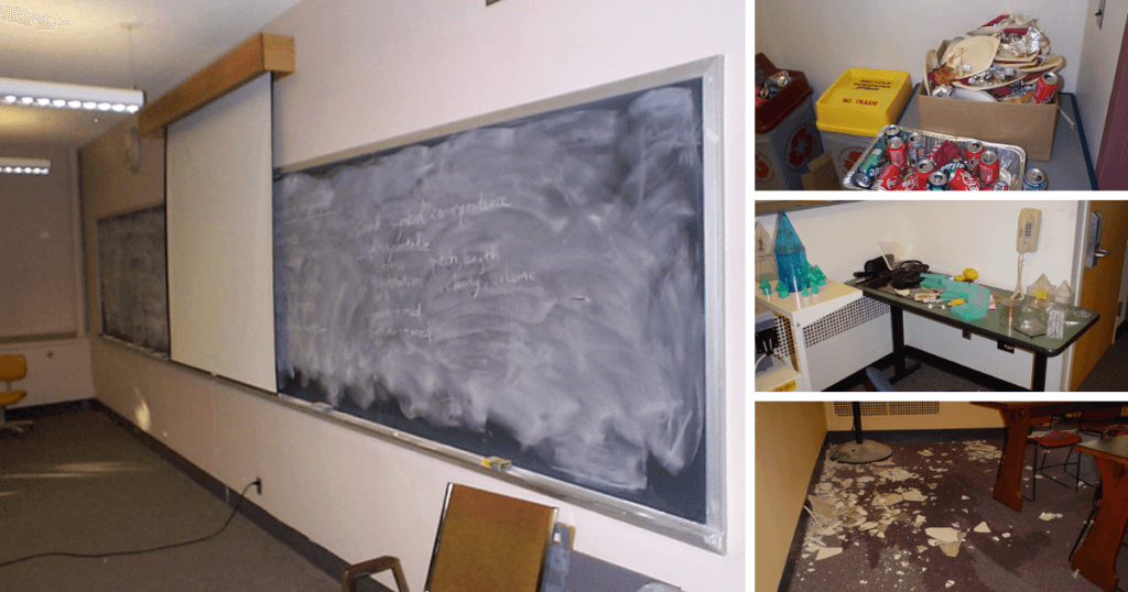 Four images of classrooms: one with an un-erased chalkboard, one with a pile of cans and garbage, one with a messy desk with projects left on top, and one with a mess of debris left on the floor.