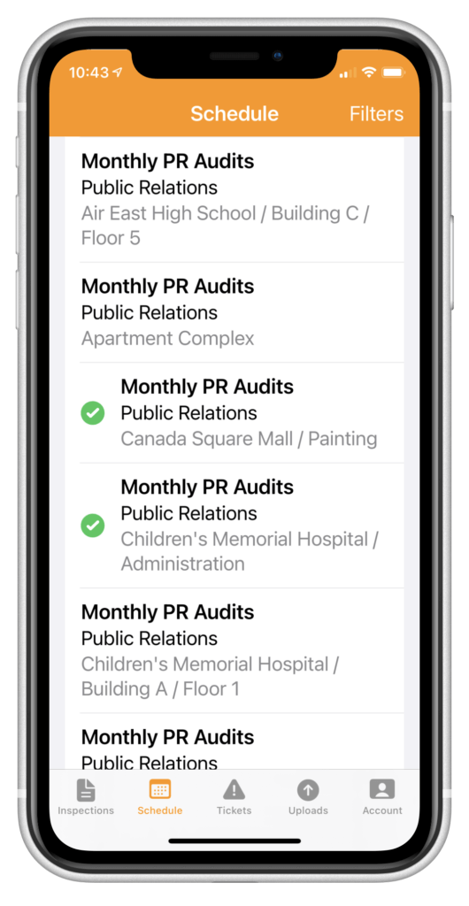Perform scheduled inspections from the app